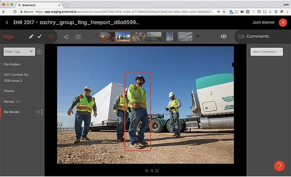 VINNIE detects worker not wearing gloves; Image courtesy of ENR