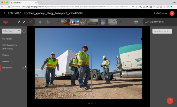 VINNIE detects missing safety gloves; Image courtesy of ENR
