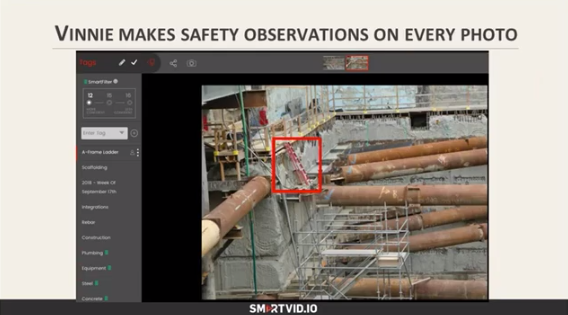 Vinnie makes safety observations on every photo